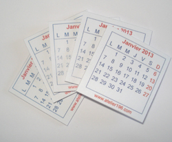 a-Mini calendrier 2013- lot de 5
